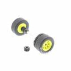 Scalextric W8566 - Front and rear axle with tyres, gear, pinion and bushings - New old stock (NOS)