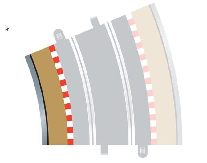 Scalextric - Radius 4 Curve Inner Borders 22.5° (x 4)