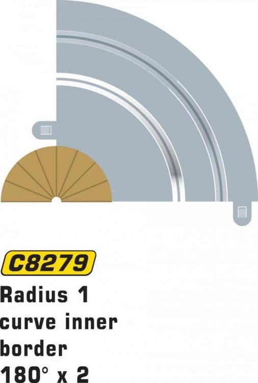 Scalextric Sport - Borders / Sladdzon R1 Inner (180 degr.) (x2)