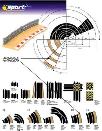 Scalextric - Borders / Sladdzon R3 Outer (22,5 degr). (4x)