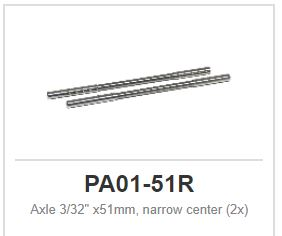 "Slot.it - Axle - reduced centre diameter - 51 mm - 2,38mm - 3/32"" (x2)"
