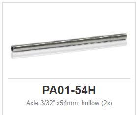 """Slot.it - Axle - hollow axle - 54 mm - 2,38mm - 3/32"""" (x2)"""