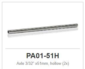 """Slot.it - Axle - hollow axle - 51 mm - 2,38mm - 3/32"""" (x2)"""
