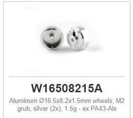 Slot.it - Wheels Alu - Ø16.5x8.2x1.5mm - Light Hubs 1,5g (x2)