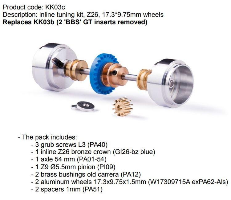 Slot.it - Inline tuning kit, Z26, 17.3*9.75mm wheels