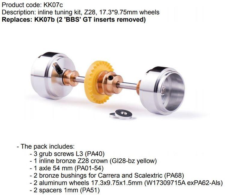 Slot.it - inline tuning kit, Z28, 17.3*9.75mm wheels