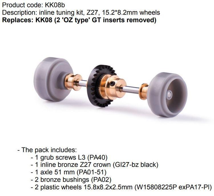Slot.it -  Inline tuning kit, Z27, 15.2*8.2mm wheels