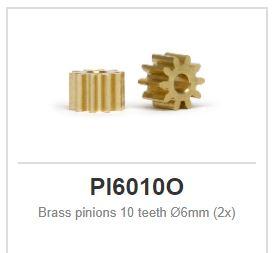 Slot.it - Brass pinions 10 teeth Ø6mm (2x)