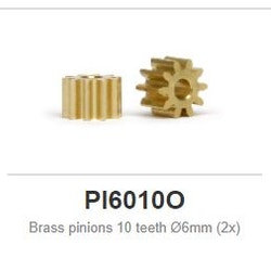 Slot.it - Brass pinions 10 teeth Ø6mm (2x)