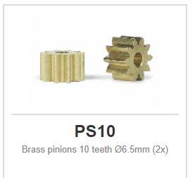 Brass pinions - Sidewinder - 10 teeth Ø6.5mm (2x)