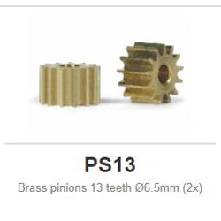 Brass pinions - Sidewinder - 13 teeth Ø6.5mm (2x)
