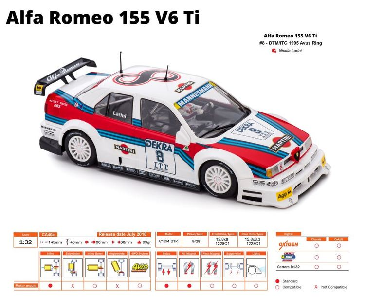 Slot.it - ALFA ROMEO 155 V6Ti DTM/ITC 1995 - Avusring / #8