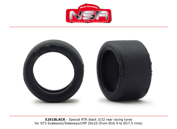NSR - Special RTR Slick Rear for GT3 Scaleauto/Sideways/LMP - 20x10 - Low Profile - Racing tyres - BLACK (x4)