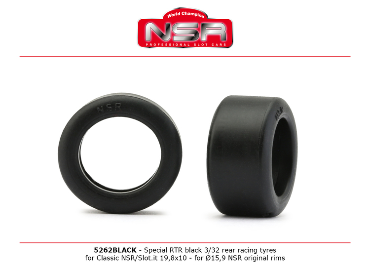 NSR - Special RTR Slick Rear for Classic NSR/SLOT.IT - 19,8x10 - Low Profile - Racing tyres - BLACK (x4)