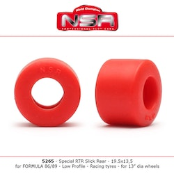 NSR - SPECIAL RTR SLICK REAR LOW PROFILE - 19.5 X 13.5 - FORMULA NSR - RACING TYRES - RED  (x4)