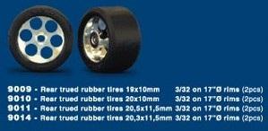 "NSR - 3/32 REAR RTR 19 x10mm TRUED RUBBER TIRES on 17"" dia wheels (2)"