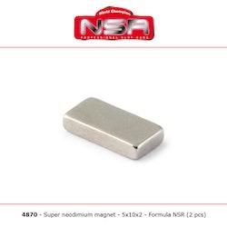 NSR - Magnet - Super Neudymium magnet - 5x10x2 mm (2x)
