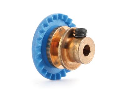 """NSR - 3/32 INLINE soft plastic Gear 24t Blue w/bronze hub .050"""" screw"""