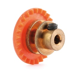 "NSR - 3/32 INLINE soft plastic Gear 25t Orange w/bronze hub .050"" screw"