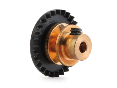 """NSR - 3/32 INLINE soft plastic Gear 27t Black w/bronze hub .050"""" screw"""