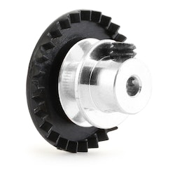 "NSR - 3/32 INLINE soft plastic Gear 27t Black w/aluminium hub .050"" screw"