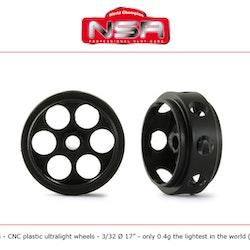 NSR - 3/32 CNC PLASTIC ULTRALIGHT WHEELS - Front Ø 17mm - only 0.4g (2x)