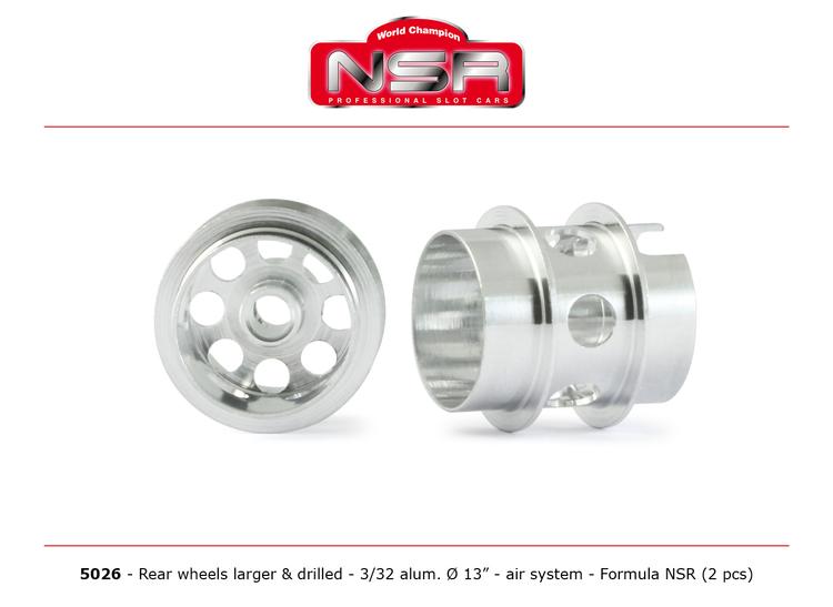 NSR - 3/32 Wheels - Rear Ø 13x13mm - Drilled - Ultralight & very accurate (x2)