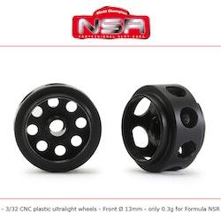 NSR - 3/32 CNC PLASTIC ULTRALIGHT WHEELS - Front Ø 13mm - only 0.4g (2x)