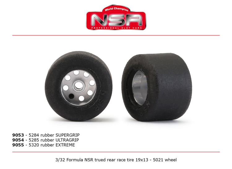 NSR - 3/32 FORMULA NSR TRUED REAR RACE TIRE 19x13 ULTRAGRIP (2)