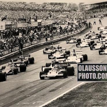 74 - Englands GP, Brands Hatch, Lauda/Ronnie - Canvasduk i format 50x70 cm