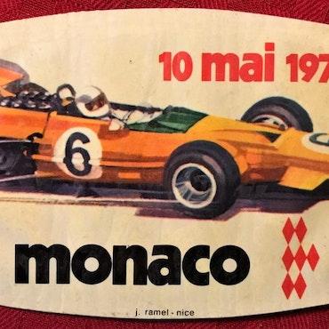 1970 - Ronniedebut i F1 - Monacos originaldekal - 8 x 12 cm