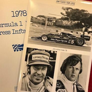 1978 - Goodyear F1 pressmapp, foto 14 team, komplett, 20x30 cm