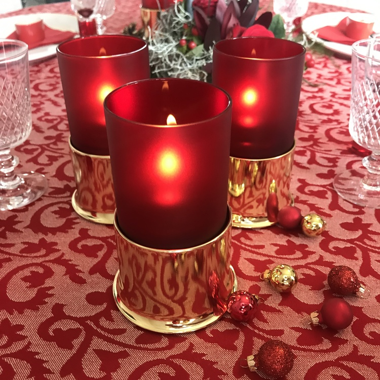 MOOD Gold Red/White glas