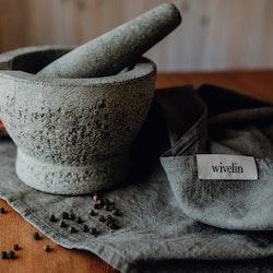 Stentvättad linnehandduk - Granatäpple & järn