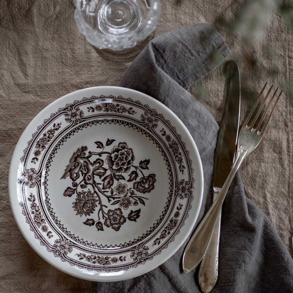 Stentvättad linneservett - Granatäpple & järn