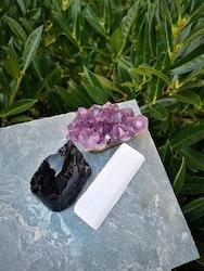 Paket: 3 kristaller för beskydd & andlig energi + meditation