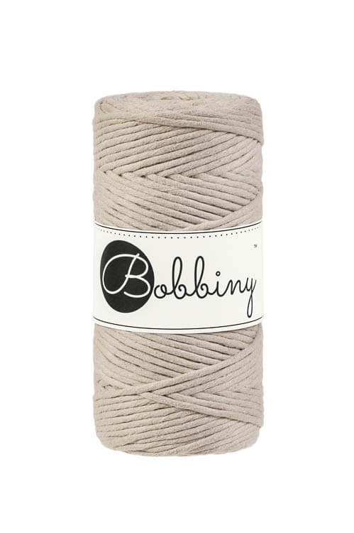 Bobbiny makramégarn Single Twist Regular 3 mm Beige