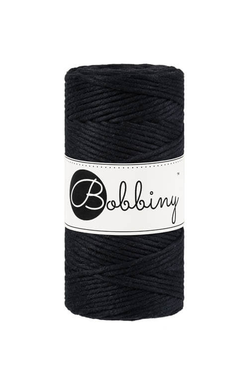 Bobbiny makramégarn Single Twist Regular 3 mm Black