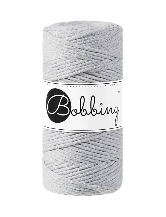 Bobbiny makramégarn Single Twist Regular 3 mm Light Grey