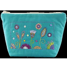 Un Chat dans l'aiguille - Broderikit väska - Trousse turquoise