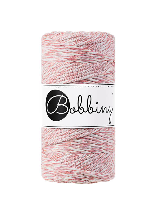 Bobbiny makramégarn Single Twist Regular 3 mm Strawberry