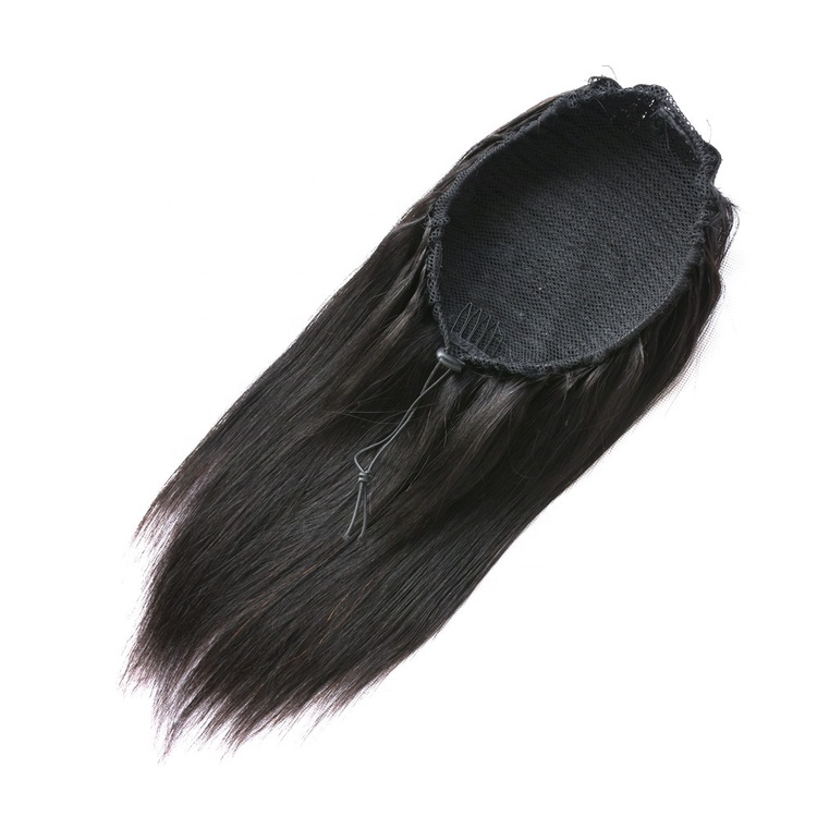 Rak svart ponytail/hästsvan