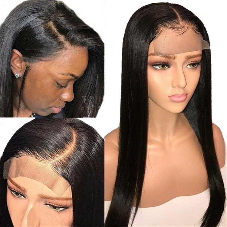 Brazilian Remy Natural Long straight Lace Frontal Human Hair Wig