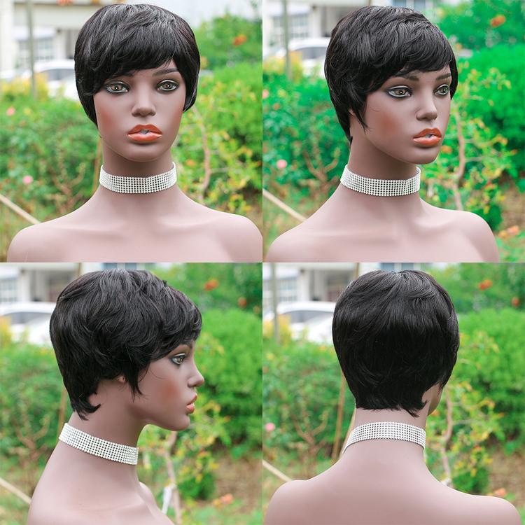 Full Machine Made Natural Color Short Cut Human Hair Wig