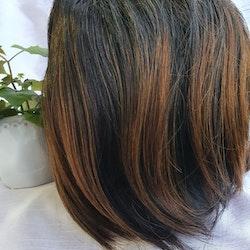 Straight Black Brown 100% Human Hair Wig