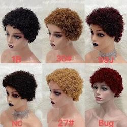 Machine curly cap human hair wig