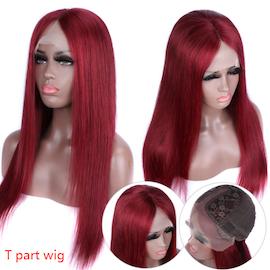 T-part human hair wig