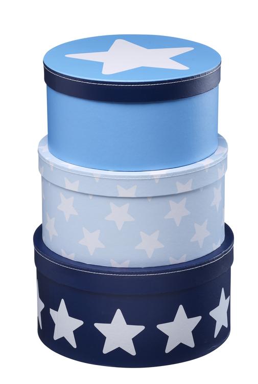Pappboxar 3set blå
