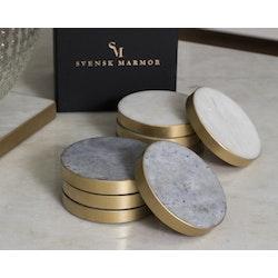 Underlägg vit marmor med guldkant 4-pack