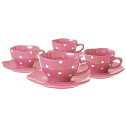 Minikoppar med fat. 4-pack. rosa